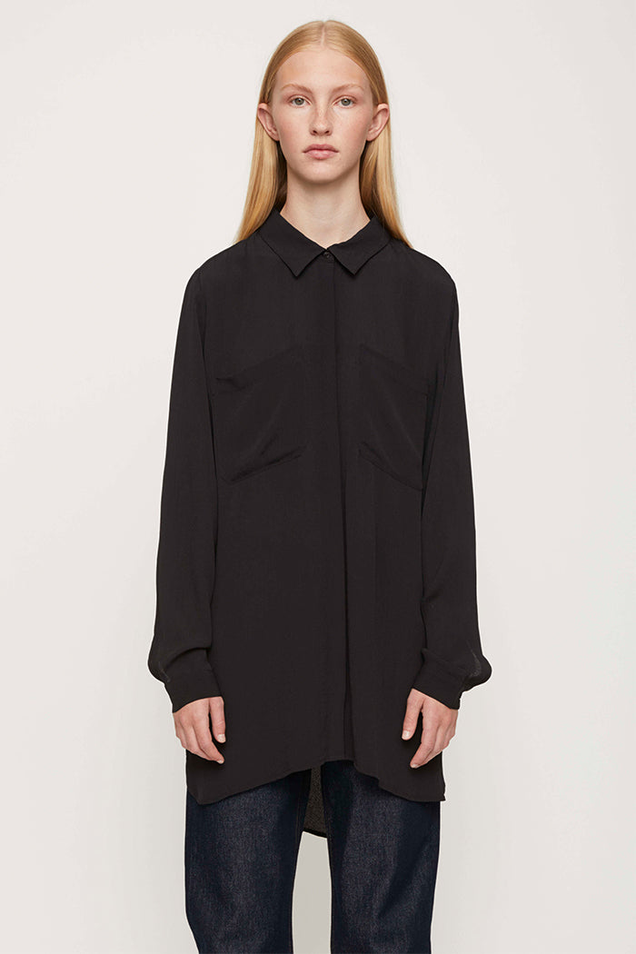Just Female Lima oversized, flowy, button up black shirt. 100% viscose | PIPE AND ROW