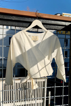 Paloma Wool Linden wrap top textured off white | pipe and row boutique