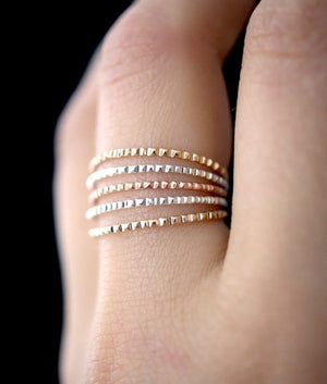 Lined stacking rings gold handmade | PIPE AND ROW boutique Seattle