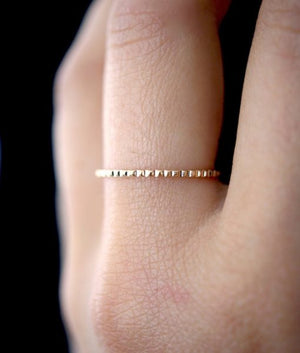 Lined stacking ring 14k gold handmade local | PIPE AND ROW boutique Seattle