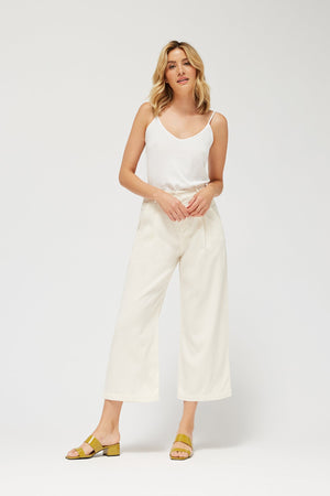 LACAUSA LOLA LINEN TROUSER CREAM BONE WHITE SEATTLE | PIPE AND ROW