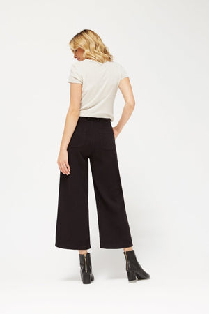 Lacausa Lola textured cropped black wide leg pleated high waisted trousers sustainable | PIPE AND ROW