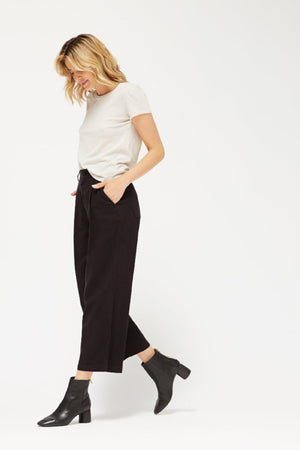 Lacausa Lola textured cropped high waisted trousers sustainable black tar | PIPE AND ROW