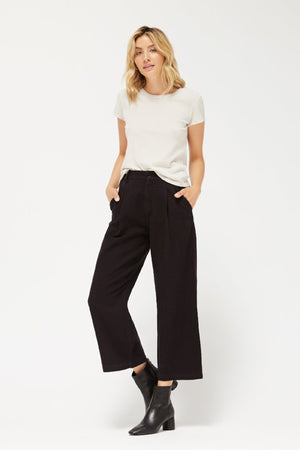 Lacausa Lola textured cropped high waisted tar trousers sustainable | PIPE AND ROW
