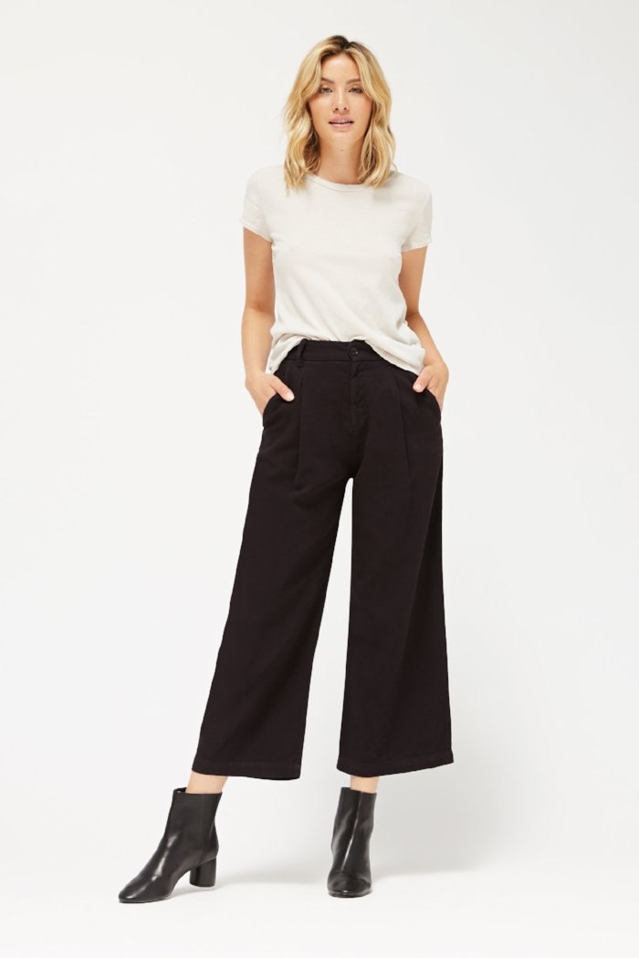 Lacausa Lola textured cropped high waisted trousers sustainable black | PIPE AND ROW