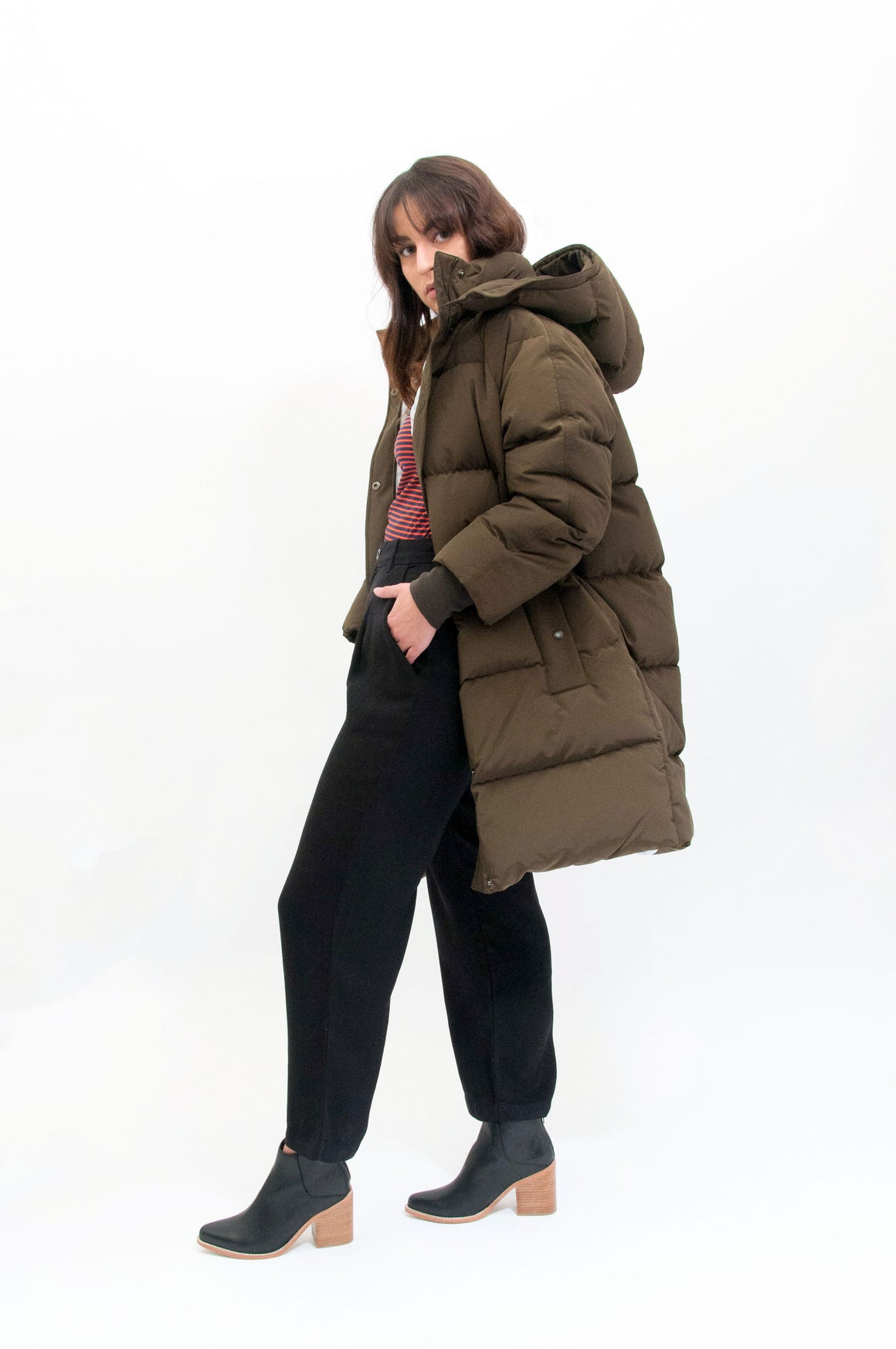 LONG DOWN PARKA OLIVE