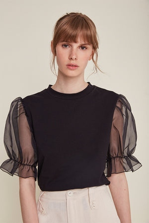 Rita Row fitted black Lorenta shirt puffy organza sleeves | Pipe and Row