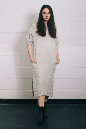 Filosofia Marissa oversized textured midi dress natural linen | PIPE AND ROW