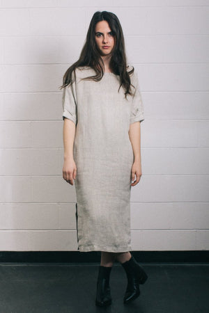 Filosofia Marissa oversized short sleeve textured midi dress natural linen | PIPE AND ROW