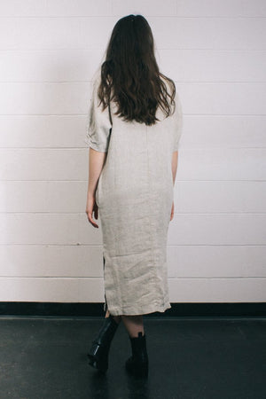 Filosofia Marissa oversized textured midi dress natural linen slow fashion | PIPE AND ROW