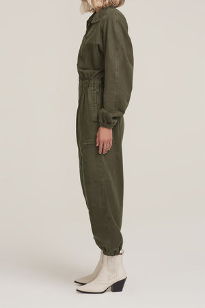 Agolde Marin flight suit jumpsuit army eucalyptus green | Pipe and row