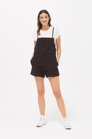 Matisse linen black short Overalls by lacausa | pipe and row