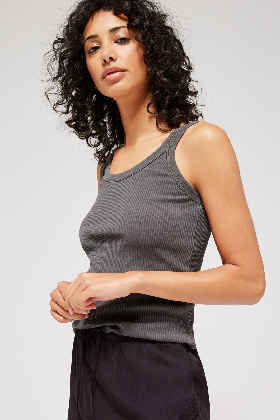 Lacausa Maya ribbed slate grey cotton tank top | PIPE AND ROW Boutique Seattle