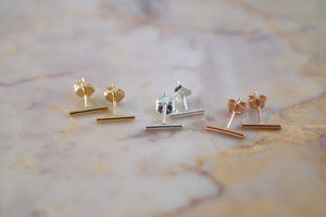 Hannah Naomi mini bar line stud earrings rainbow of metals | PIPE AND ROW