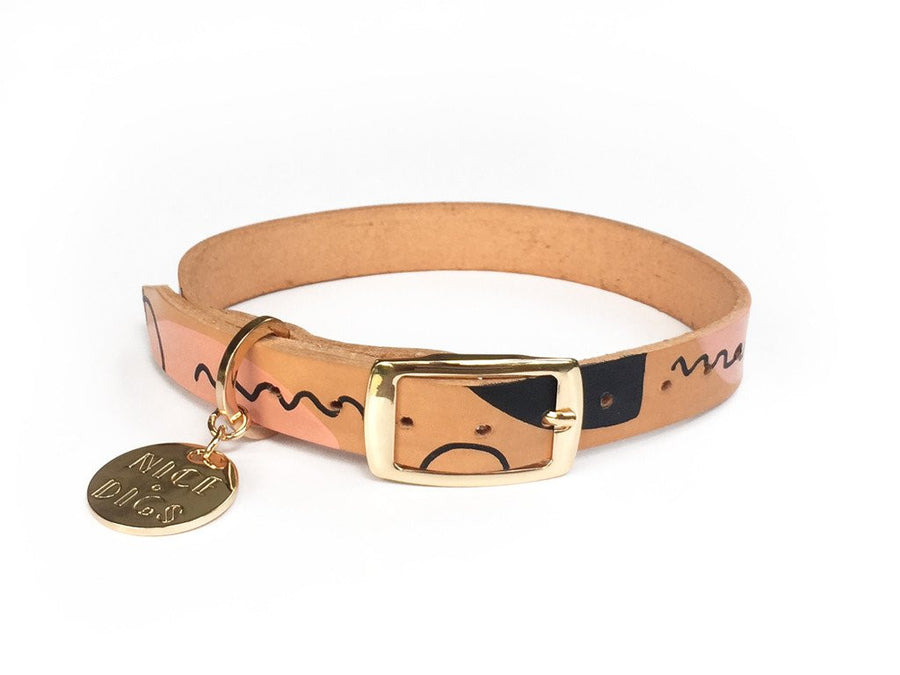 modern form leather dog collar nice digs nude black | pipe and row boutique