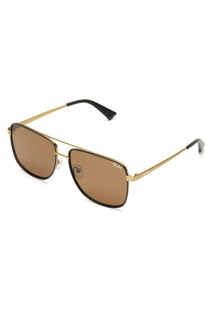 masculine rectangular navigator style sunglasses modern times bronze black quay | pipe and row