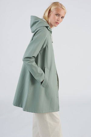 Stutterheim mosebacke khaki green rain jacket womens | pipe and row boutique
