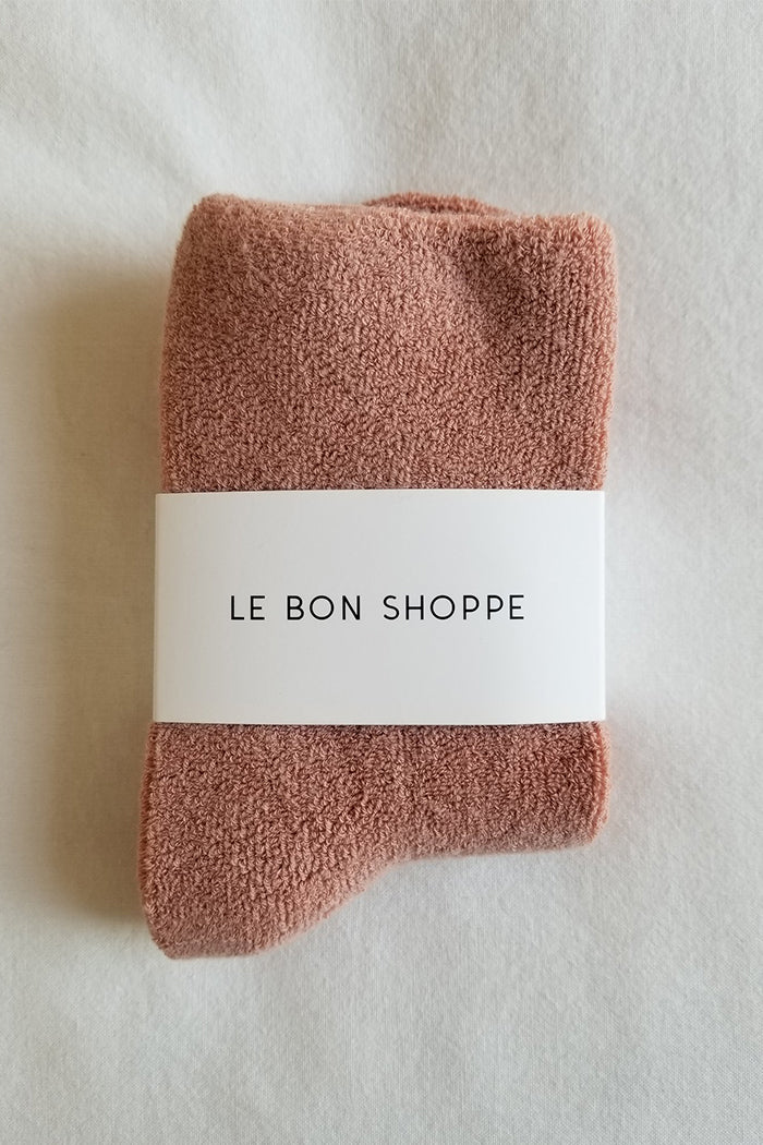Le Bon Shoppe mulberry pink terry comfy, cozy, terry cloth Cloud socks | Pipe and Row