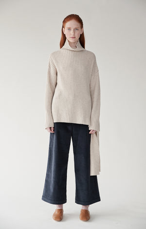 Mijeong Park wide leg high waist corduroy trousers navy | Pipe and Row