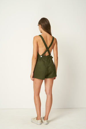 Rue Stiic linen Nora Romper shorts overalls pinafore mustang olive green | Pipe and Row Boutique