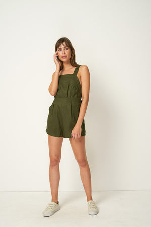 Rue Stiic linen Nora Romper shorts overalls pinafore mustang khaki green | Pipe and Row Boutique