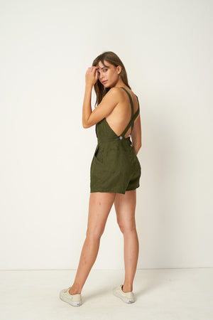 Rue Stiic linen Nora Romper shorts overalls pinafore mustang forest green | Pipe and Row Boutique