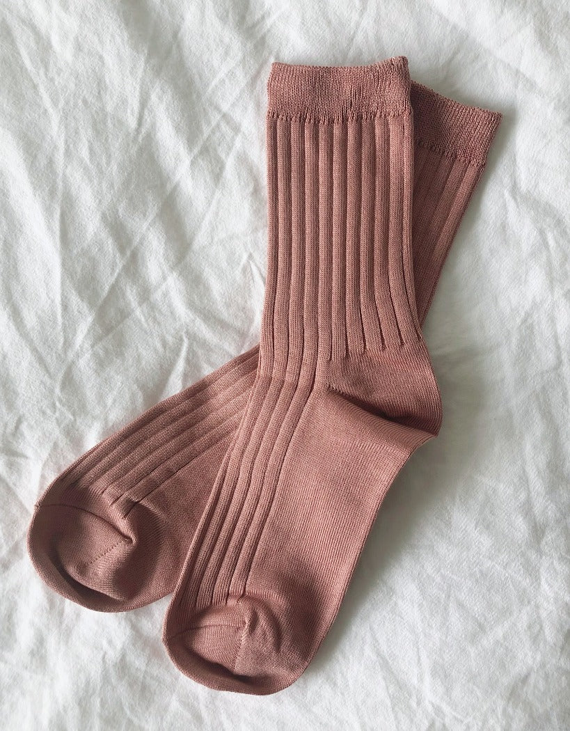 Le Bon Shoppe Her socks perfect height knit rib socks nude peach | Pipe and Row