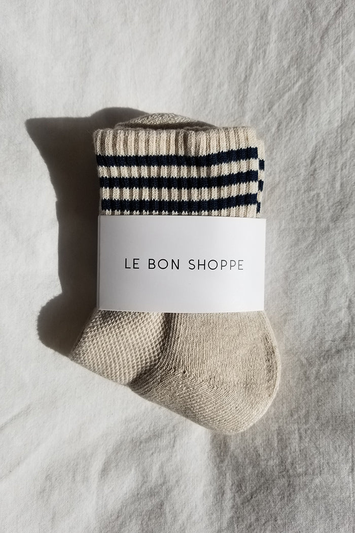 Le Bon Shoppe oatmeal crew Girlfriend socks stripe ribbed varsity | pipe and row boutique