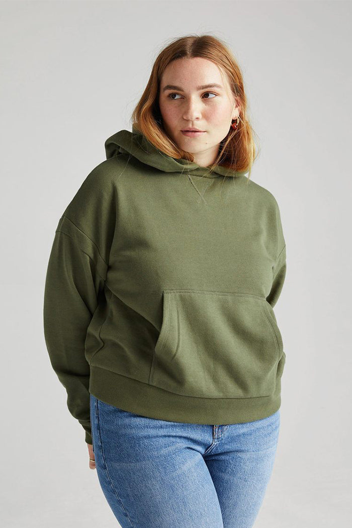 Richer Poorer recycled pullover fleece hoodie olive army green | pipe and row