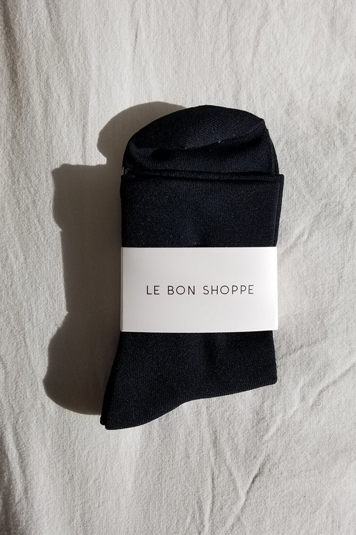 Le Bon Shoppe Pump socks smooth simple sleek onyx black | pipe and Row
