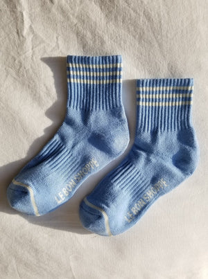 Le Bon Shoppe Girlfriend socks parisian blue ivory stripes | pipe and row