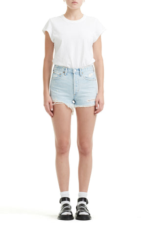 High rise vintage distressed Parker cut off denim jean shorts rock steady Agolde | pipe and row
