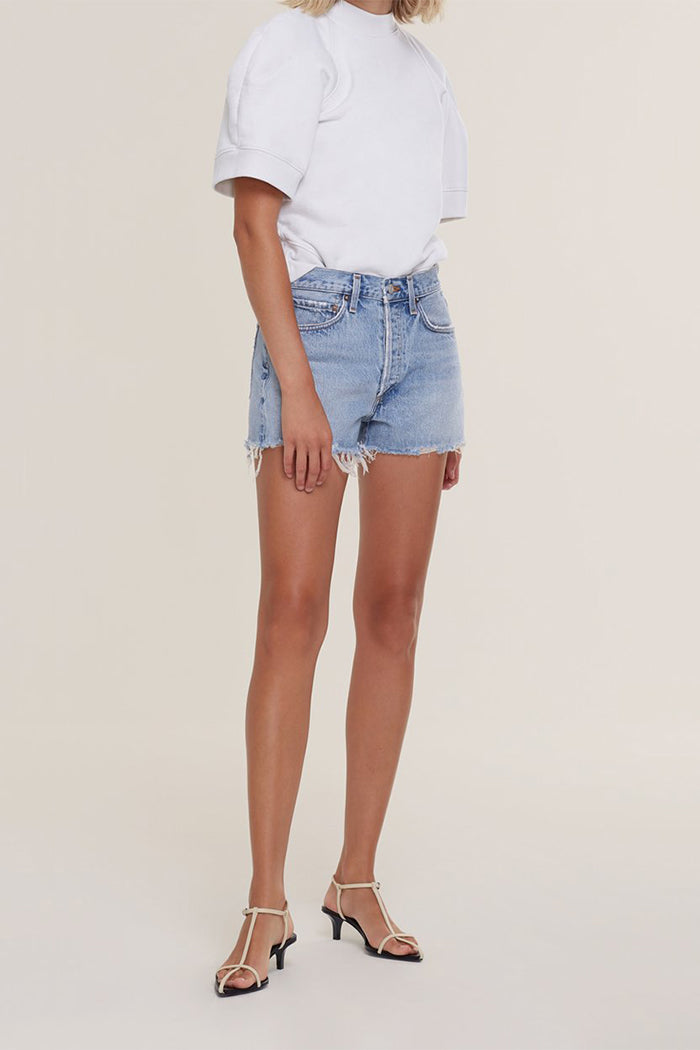 Agolde Parker relaxed denim jean shorts blue encore | pipe and row seattle