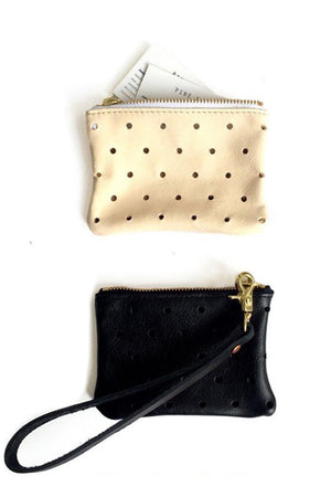 Pine + Boon Punched Dot Leather Wallet tuscon black beige | pipe and row