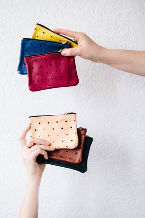 Pine + Boon Punched Dot Leather Wallet suede preforated pouch | pipe and row