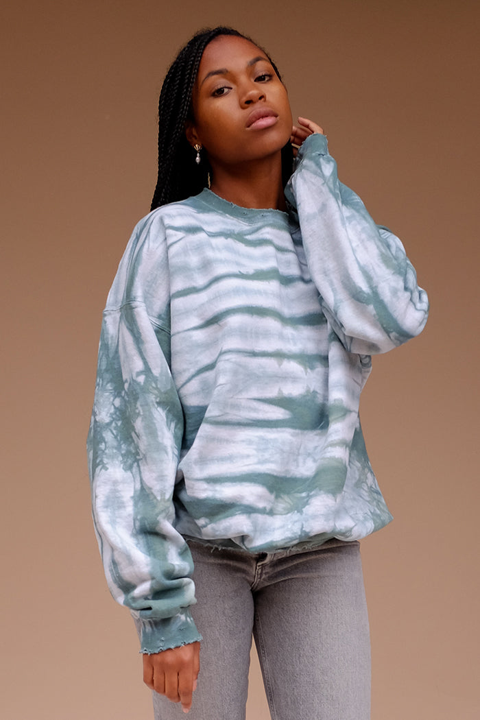 Pines forest green PULLOVER oversized tie dye local handmade | Pipe and Row