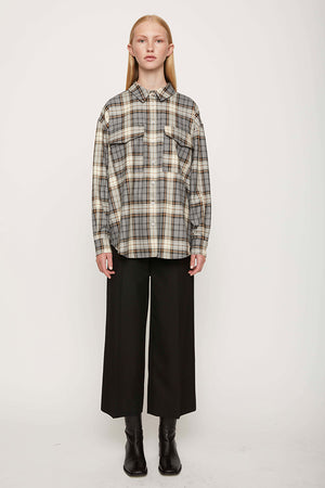 Just Female Pisa plaid shirt stone check | Pipe and Row boutique Seattle