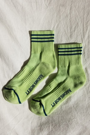 Le Bon Shoppe pistachio green Girlfriend socks stripe ribbed varsity | pipe and row boutique