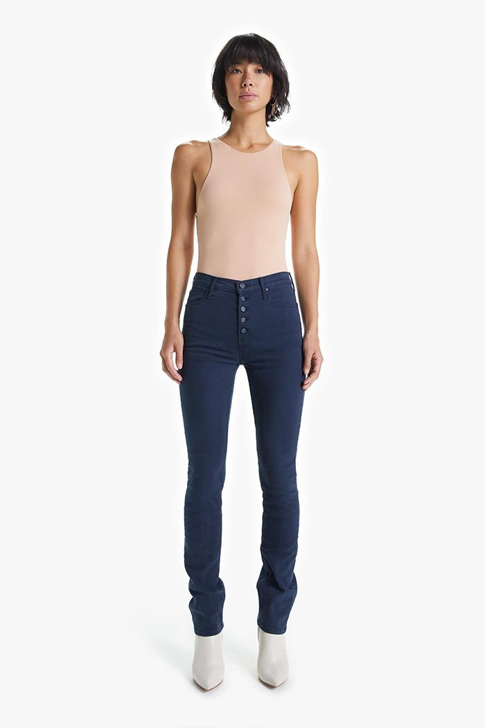 Mother Denim Pixie Dazzler button fly skinny blue indigo | pipe and row