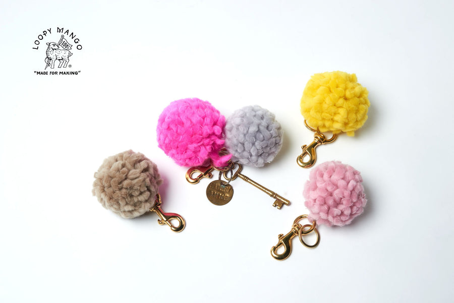 pom pom keychain merino loopy mango | pipe and row boutique
