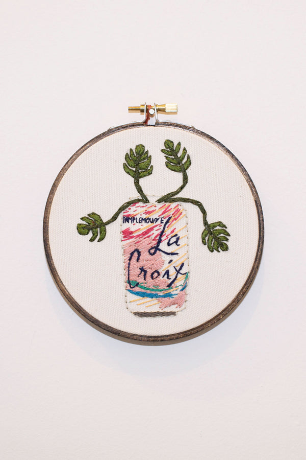 e5aa2de4 Pamplemousse La Croix Cross Stitch can with flowers | PIPE AND ROW Seattle