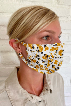 Rue Stiic spring golden floral face mask HanDmade in Bali dead stock fabric woman owned | pipe and row boutique