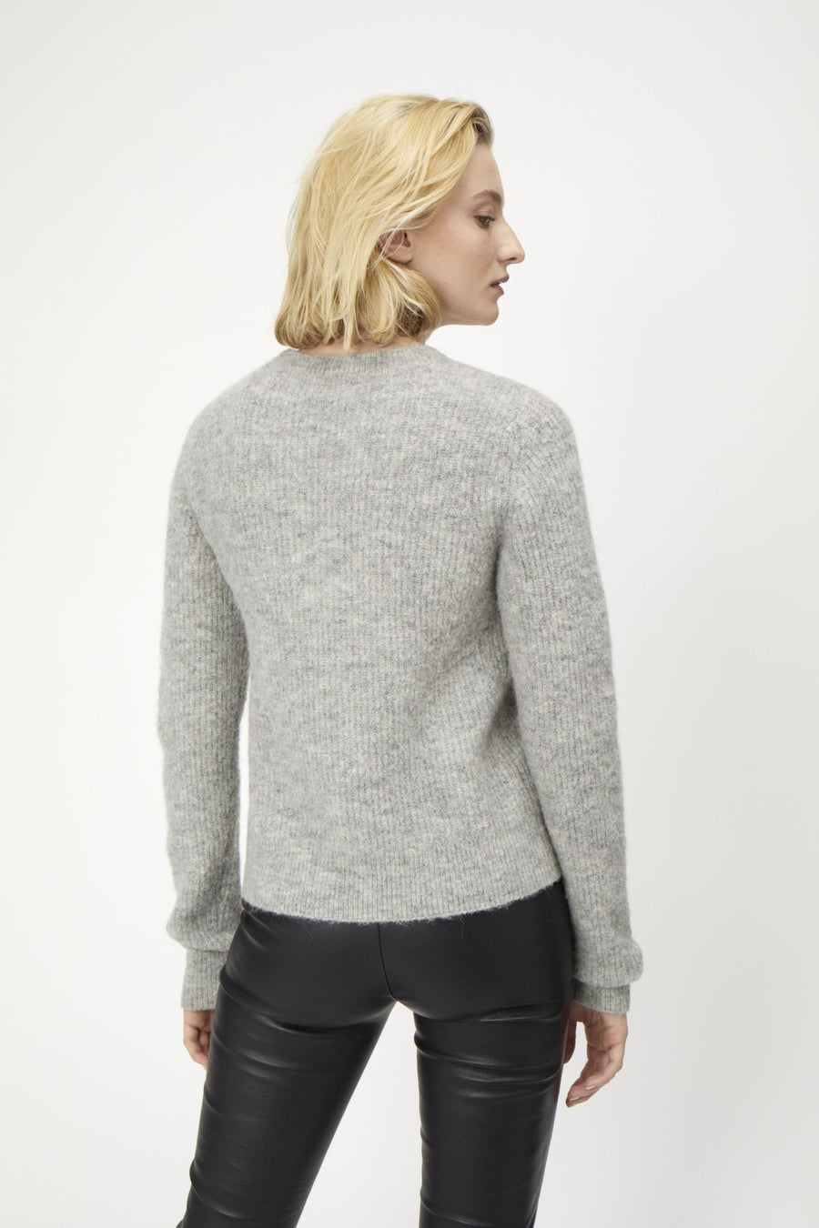 Just Female Rebelo grey crewneck knit sweater | pipe and row