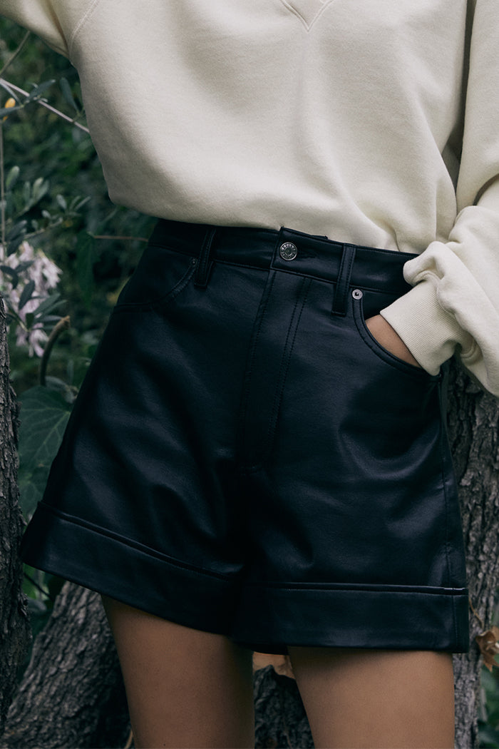 RECYCLED LEATHER ANGLED HEM SHORT
