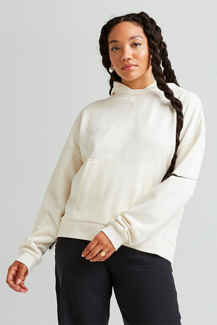 Richer Poorer recycled pullover fleece hoodie cream bone | pipe and row boutique shop small pipeandrow.com