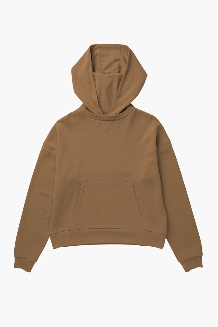 Richer Poorer recycled pullover fleece hoodie woodgrain brown | Pipe and ROw