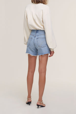 Agolde Reese blue denim high rise shorts longer wonder | pipe and row