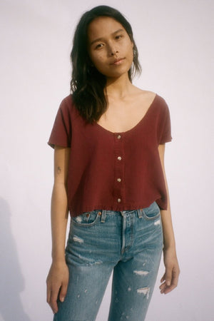 Lacausa's Reversible button raw silk top jam red best selling | pipe and row