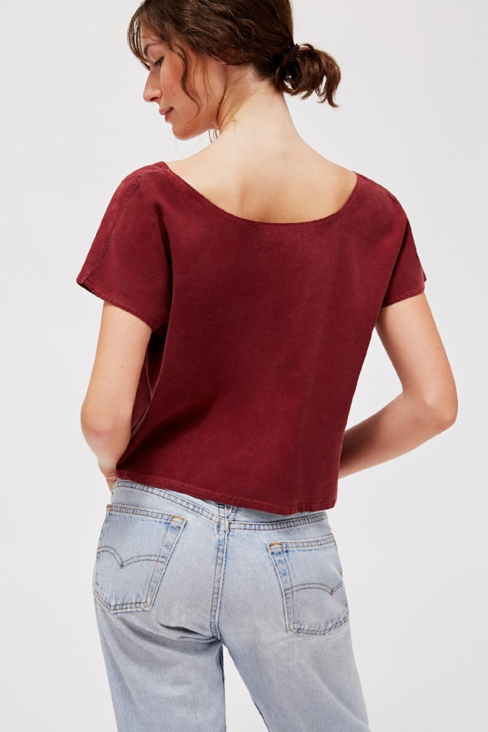 Lacausa's Reversible raw silk top jam red best selling | pipe and row