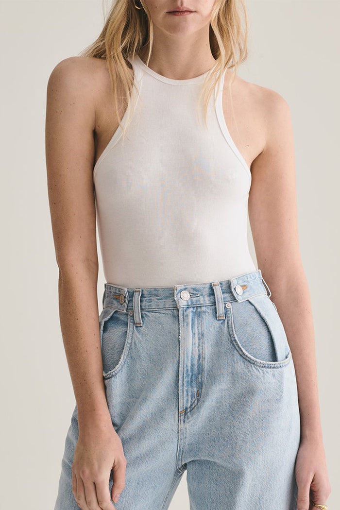 Agolde Rianne white racerback bodysuit high crew neckline | pipe and row